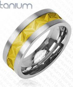 Titanový snubní prsten stříbrně - zlatý vzor  - Velikost: 67