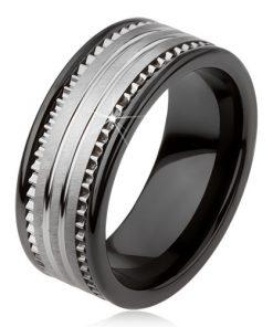 Wolframový keramický černý prsten se stříbrným povrchem a proužky - Velikost: 67