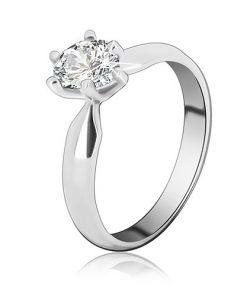 Zásnubní prsten ze stříbra 925 – zirkon ve tvaru slzy - Velikost: 65