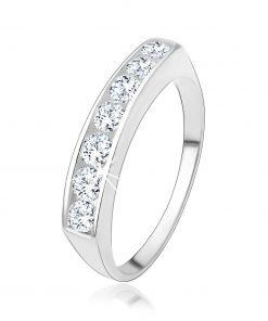 Zásnubní prsten ze stříbra 925 se vsazenou linií čirých zirkonů - Velikost: 59