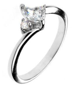 Zásnubní prsten ze stříbra 925 - zirkon ve tvaru zrnka a dva malé zirkony - Velikost: 59