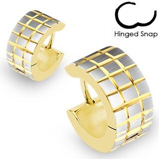 Zlato-stříbrné kulaté náušnice - vyryté překřížené pásy