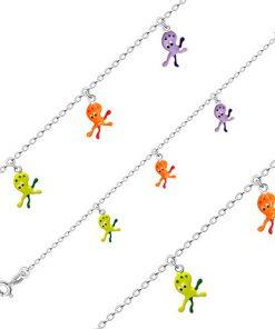 Dětský náramek ze stříbra 925 - tři chobotničky s oranžovou