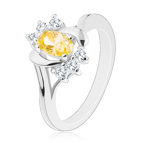 Lesklý prsten se žlutým oválným zirkonem