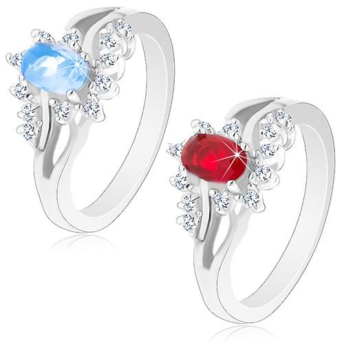Lesklý prsten ve stříbrném odstínu s rozdvojenými rameny