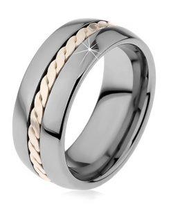 Lesklý prsten z wolframu s pleteným vzorem stříbrné barvy