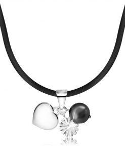 Náhrdelník - gumová šňůrka na krk s přívěsky z 925 stříbra