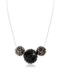 Náhrdelník s černou a šedými kuličkami s krystalky