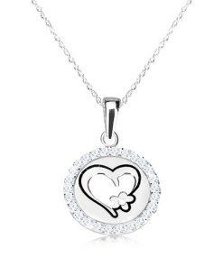 Náhrdelník ze stříbra 925 - kruhový přívěsek se srdcem a kvítkem