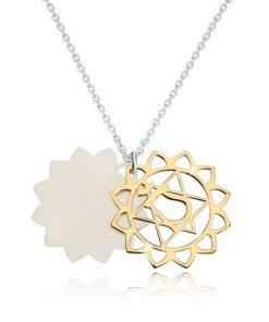Náhrdelník ze stříbra 925 - lesklá srdcová čakra ve zlatém odstínu