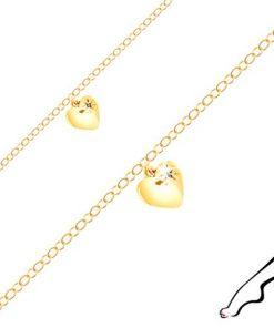 Náramek na kotník ze stříbra zlaté barvy - lesklé srdíčko