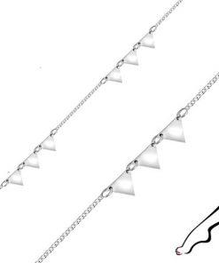 Náramek na kotník ze stříbra - zrcadlově lesklé trojúhelníky