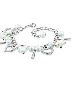 Náramek stříbrné barvy - kontury srdcí