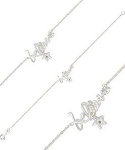 """Náramek ze stříbra 925 - lesklý ozdobný nápis """"believe"""" a zirkonová hvězdička"""