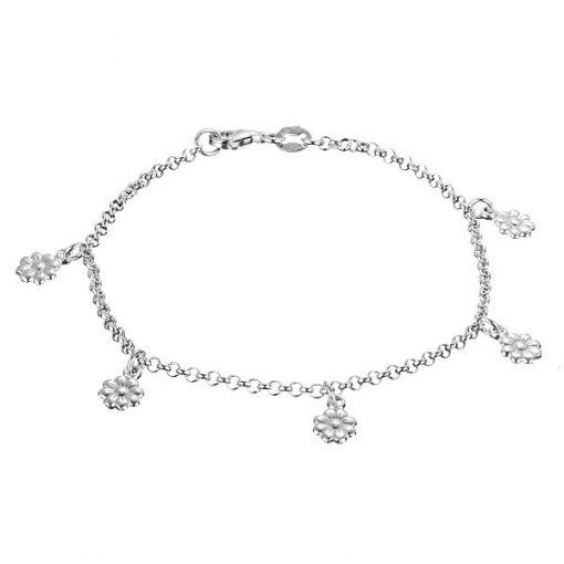 Náramek ze stříbra 925 - řetízek s květinkami