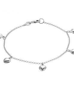Náramek ze stříbra 925 - řetízek s vypouklými srdci