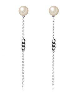 Náušnice z 925 stříbra - polokoule v perleťové barvě