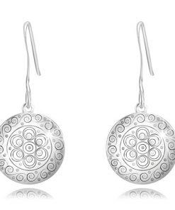 Náušnice ze stříbra 925 - lesklý kruh s kulatými a spirálovitými ornamenty