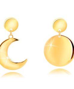 Náušnice ze stříbra 925 ve zlatém odstínu - půlměsíc a měsíc v úplňku