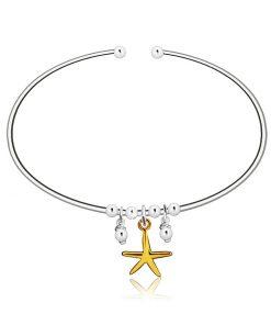 Navlékací kruhový náramek ze stříbra 925 - hvězdice ve zlaté barvě