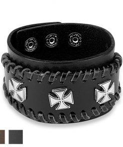 Okovaný kožený náramek - maltézský kříž stříbrné barvy - Barva: Hnědá