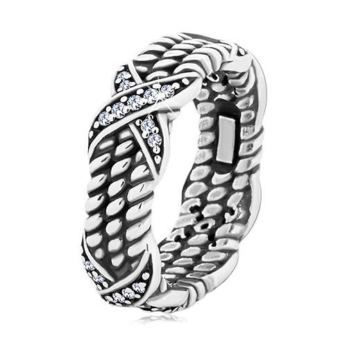 Patinovaný stříbrný prsten 925