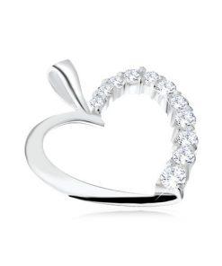 Přívěsek ze stříbra 925 - kontura poloviny srdce s čirými zirkony