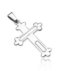 Přívěsek ze stříbra 925 - kříž s trojlístky a gravírovanými ovály
