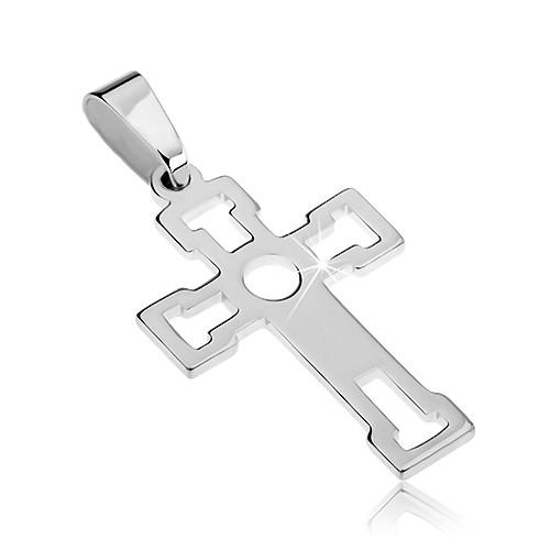 Přívěsek ze stříbra 925 - lesklý kříž s výseky ve tvaru T