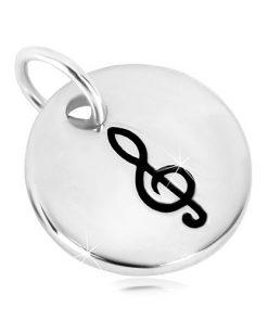 Přívěsek ze stříbra 925 - zrcadlově lesklý kruh s houslovým klíčem