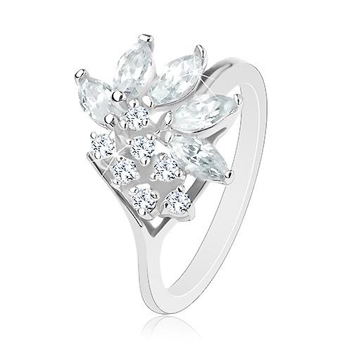 Prsten ve stříbrném odstínu zdobený zirkony čiré barvy