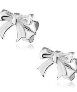 Puzetové náušnice ze stříbra 925 - lesklá hladká mašlička