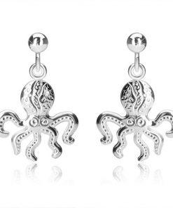 Stříbrné náušnice 925 - chobotnice s pěti chapadly