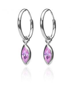 Stříbrné náušnice 925 - kroužky s růžovými zrníčky se stříbrným obrysem