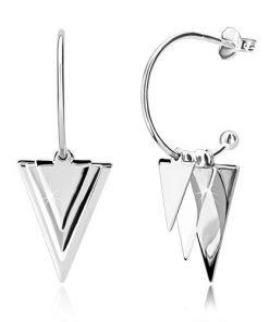 Stříbrné náušnice 925 - lesklé trojúhelníky a kuličky