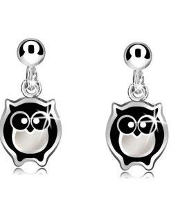 Stříbrné náušnice 925 - moudrá sovička s černo-bílou glazurou a kulička