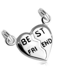 """Stříbrný 925 dvojpřívěsek - rozpůlené srdce s nápisem """"BEST FRIEND"""""""