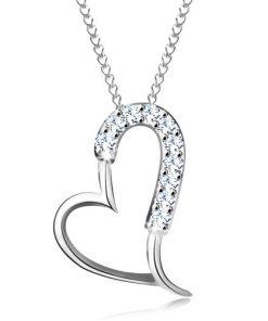 Stříbrný 925 náhrdelník - blýskavá asymetrická kontura srdce