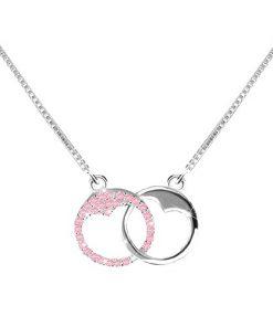 Stříbrný 925 náhrdelník - dva kroužky se srdíčkovitým výřezem