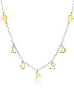 """Stříbrný 925 náhrdelník - lesklá srdíčka a nápis """"LOVED"""" ve zlatém odstínu"""