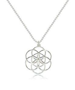 Stříbrný 925 náhrdelník - lesklý symbol Semeno života