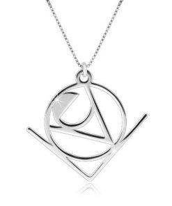 """Stříbrný 925 náhrdelník - slovo """"Love"""" v abstraktním geometrickém motivu"""