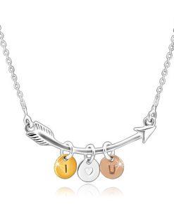 Stříbrný 925 náhrdelník - zahnutý šíp