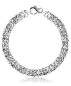 Stříbrný 925 náramek - šikmo pospojované kulaté články