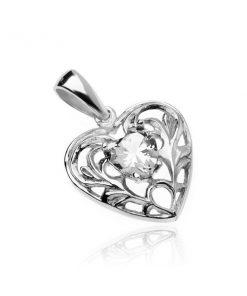 Stříbrný 925 přívěsek - srdce s čirým zirkonovým srdíčkem a ornamenty