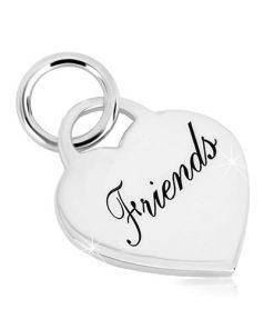 """Stříbrný 925 přívěsek - srdcovitý zámek s nápisem """"Friends"""""""