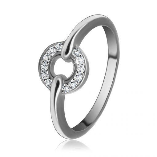 Stříbrný 925 prsten - kontura kruhu