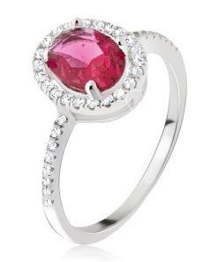 Stříbrný 925 prsten - oválný červený zirkon