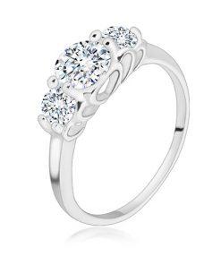 Stříbrný 925 prsten - tři kulaté třpytivé zirkony