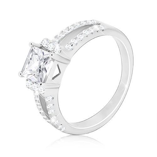 Stříbrný 925 prsten - třpytivý čtvercový zirkon
